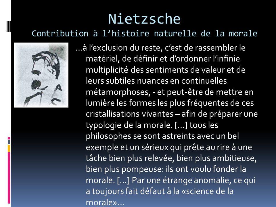 Nietzsche Contribution à lhistoire naturelle de la morale …à lexclusion du reste, cest de rassembler le matériel, de définir et dordonner linfinie mul
