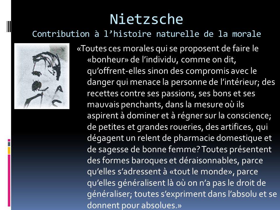 Nietzsche Contribution à lhistoire naturelle de la morale «Toutes ces morales qui se proposent de faire le «bonheur» de lindividu, comme on dit, quoff