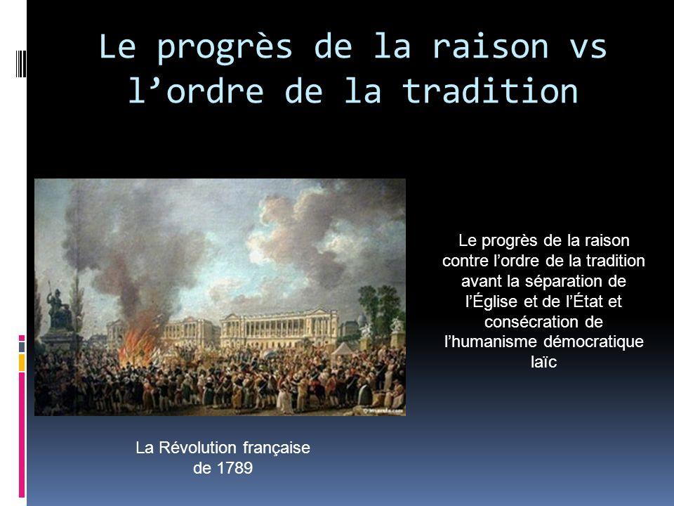 Le progrès de la raison vs lordre de la tradition La Révolution française de 1789 Le progrès de la raison contre lordre de la tradition avant la sépar