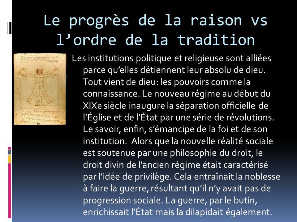 Le progrès de la raison vs lordre de la tradition Les institutions politique et religieuse sont alliées parce quelles détiennent leur absolu de dieu.