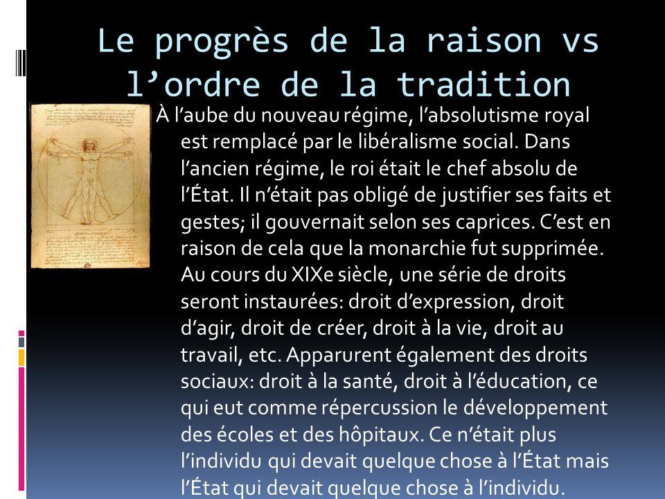 Le progrès de la raison vs lordre de la tradition À laube du nouveau régime, labsolutisme royal est remplacé par le libéralisme social. Dans lancien r