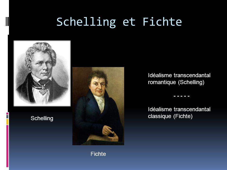 Schelling et Fichte Schelling Fichte Idéalisme transcendantal romantique (Schelling) - - - - - Idéalisme transcendantal classique (Fichte)