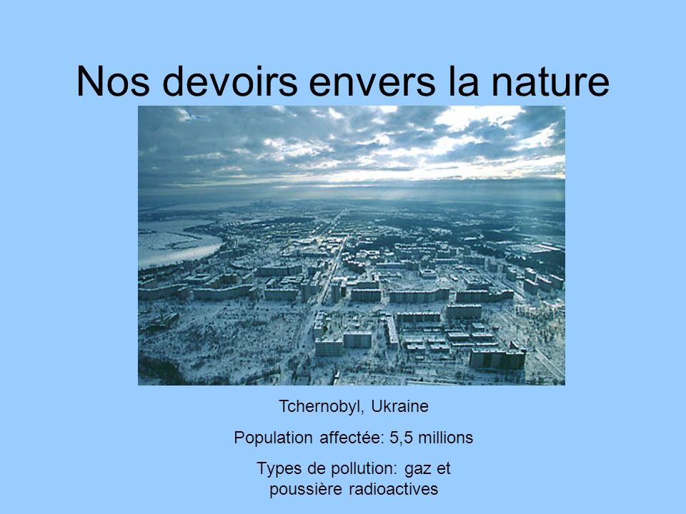 Nos devoirs envers la nature Tchernobyl, Ukraine Population affectée: 5,5 millions Types de pollution: gaz et poussière radioactives