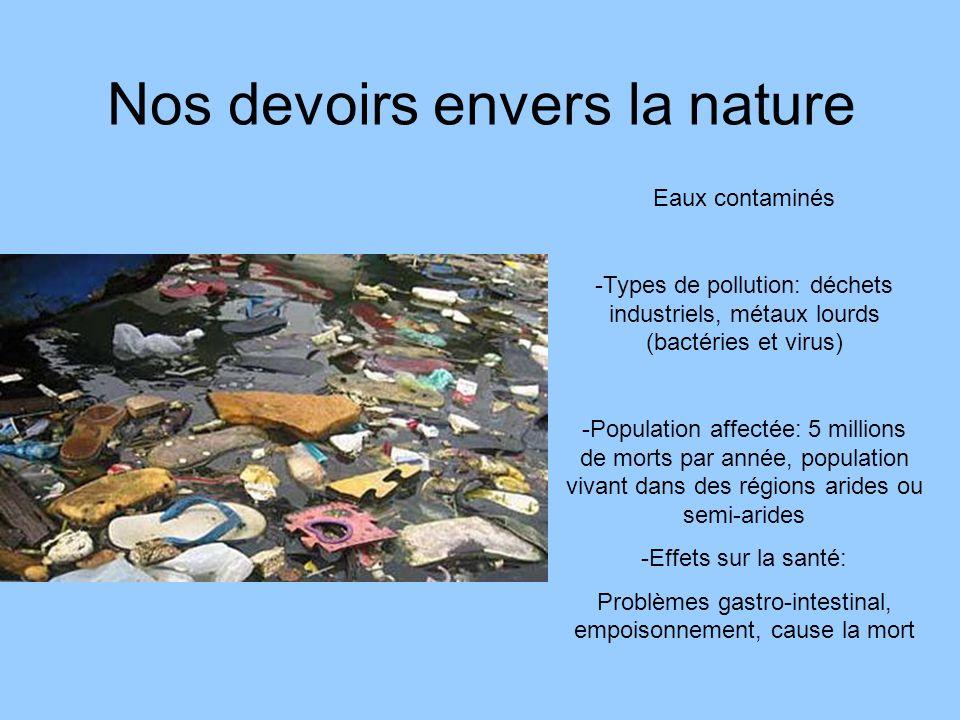 Nos devoirs envers la nature Eaux contaminés -Types de pollution: déchets industriels, métaux lourds (bactéries et virus) -Population affectée: 5 mill