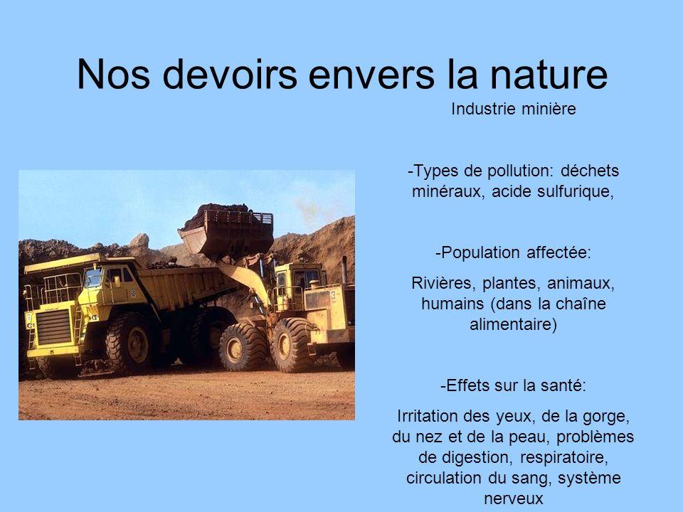 Nos devoirs envers la nature Industrie minière -Types de pollution: déchets minéraux, acide sulfurique, -Population affectée: Rivières, plantes, anima