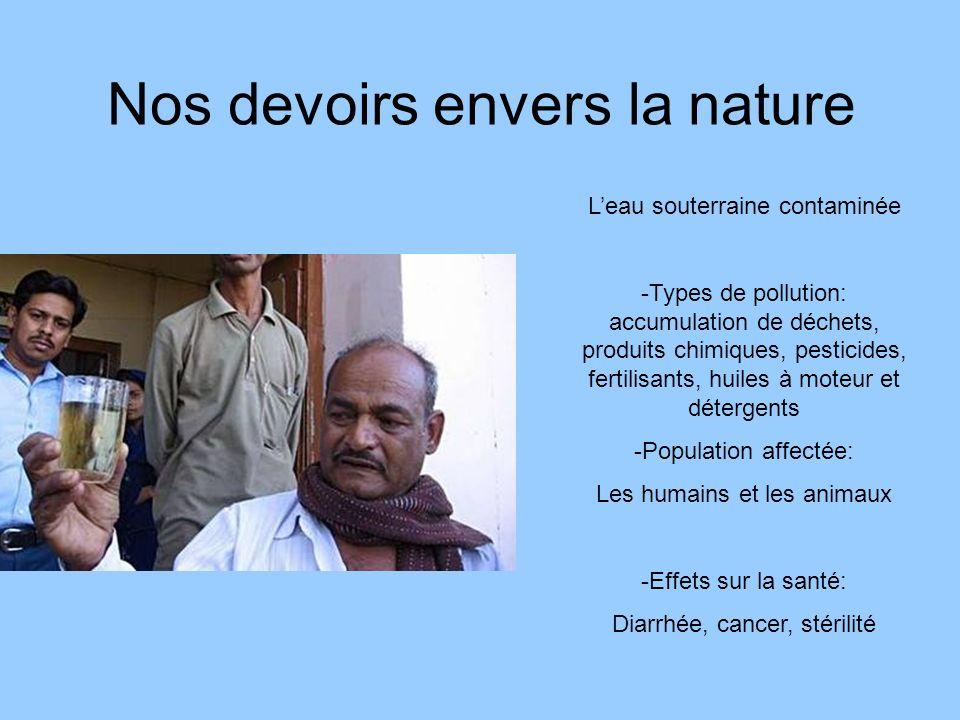 Nos devoirs envers la nature Leau souterraine contaminée -Types de pollution: accumulation de déchets, produits chimiques, pesticides, fertilisants, h