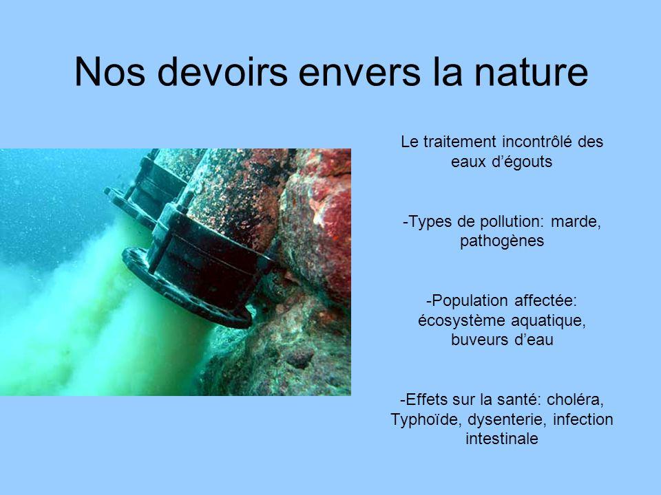 Nos devoirs envers la nature Le traitement incontrôlé des eaux dégouts -Types de pollution: marde, pathogènes -Population affectée: écosystème aquatiq