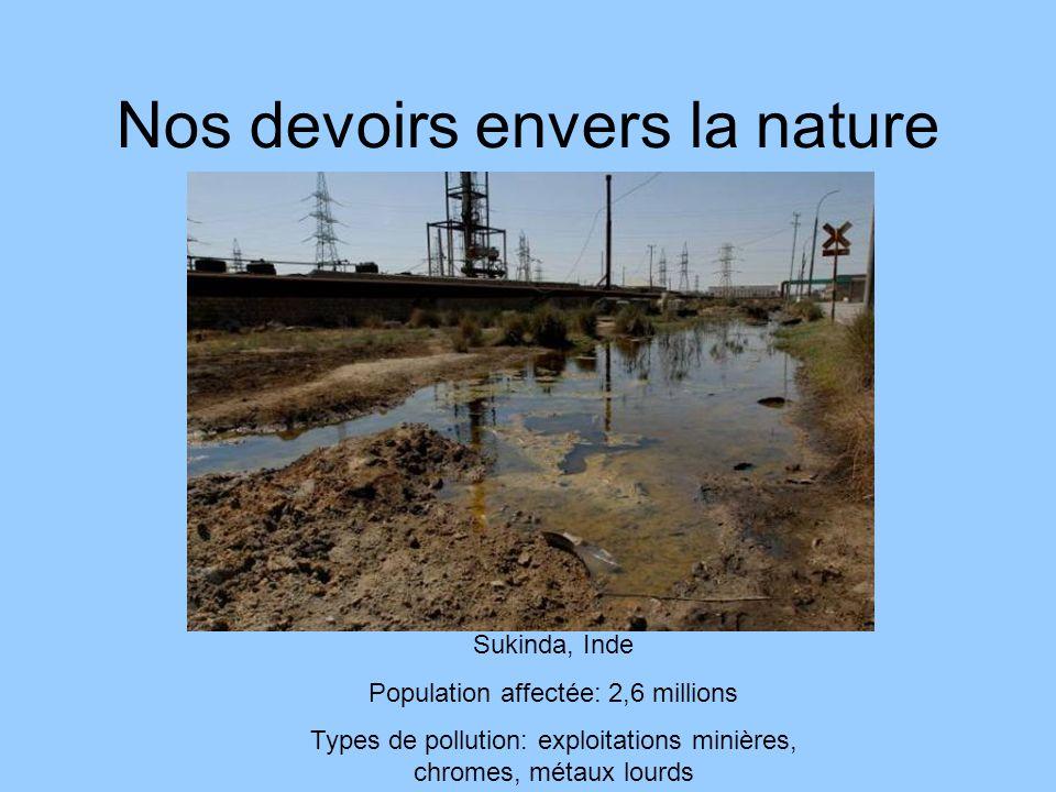 Nos devoirs envers la nature Sukinda, Inde Population affectée: 2,6 millions Types de pollution: exploitations minières, chromes, métaux lourds