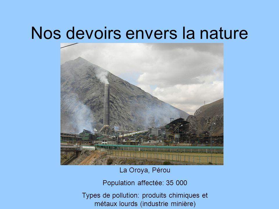 Nos devoirs envers la nature Dzerjinsk, Russie Population affectée: 300 000 Types de pollution: polluants chimiques, gaz sarin, gaz VX, plomb (industrie de larmement)