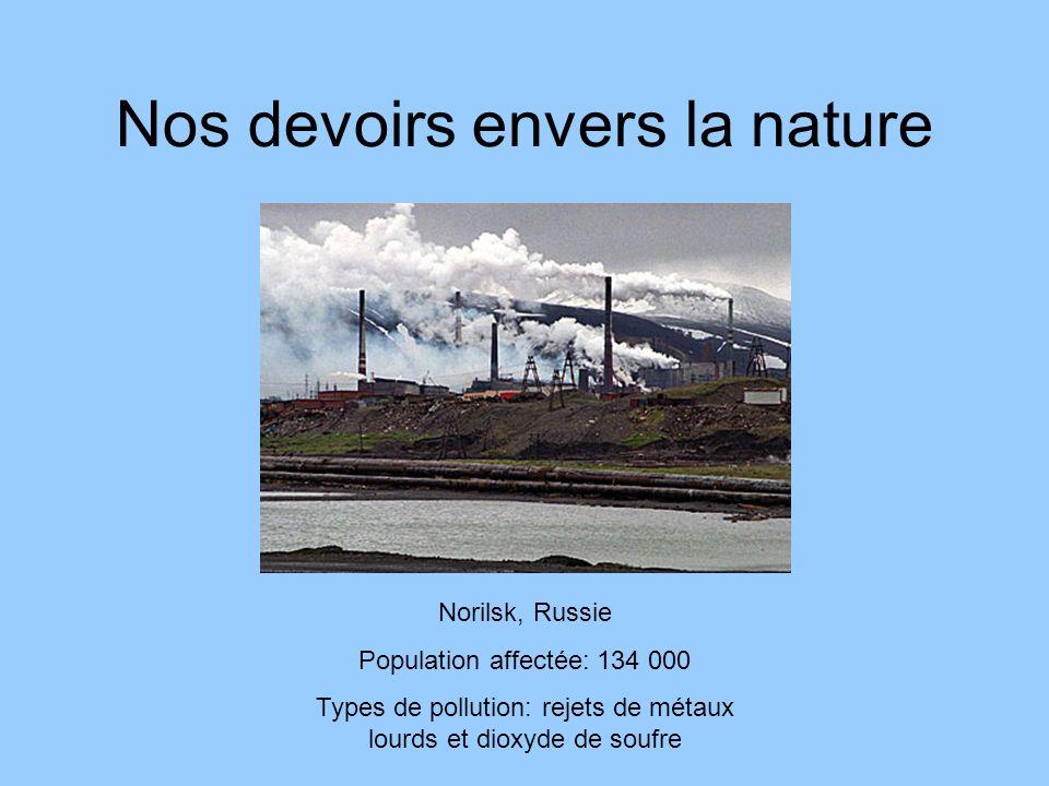 Nos devoirs envers la nature Qualité de lair urbaine -Types de pollution: combustion fossile, poussière, Nitrogen dioxide, sulfur dioxide, monoxide de carbone -Population affectée: 865 000 morts par année.