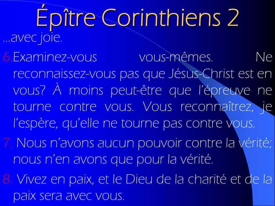Épître Corinthiens 2 …avec joie. 6.Examinez-vous vous-mêmes. Ne reconnaissez-vous pas que Jésus-Christ est en vous? À moins peut-être que lépreuve ne