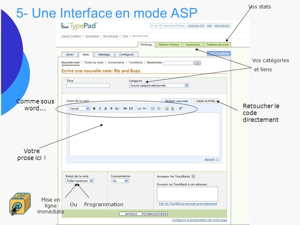 5- Une Interface en mode ASP Votre prose ici ! Retoucher le code directement Vos catégories et liens Vos stats Mise en ligne immédiate Ou Programmatio