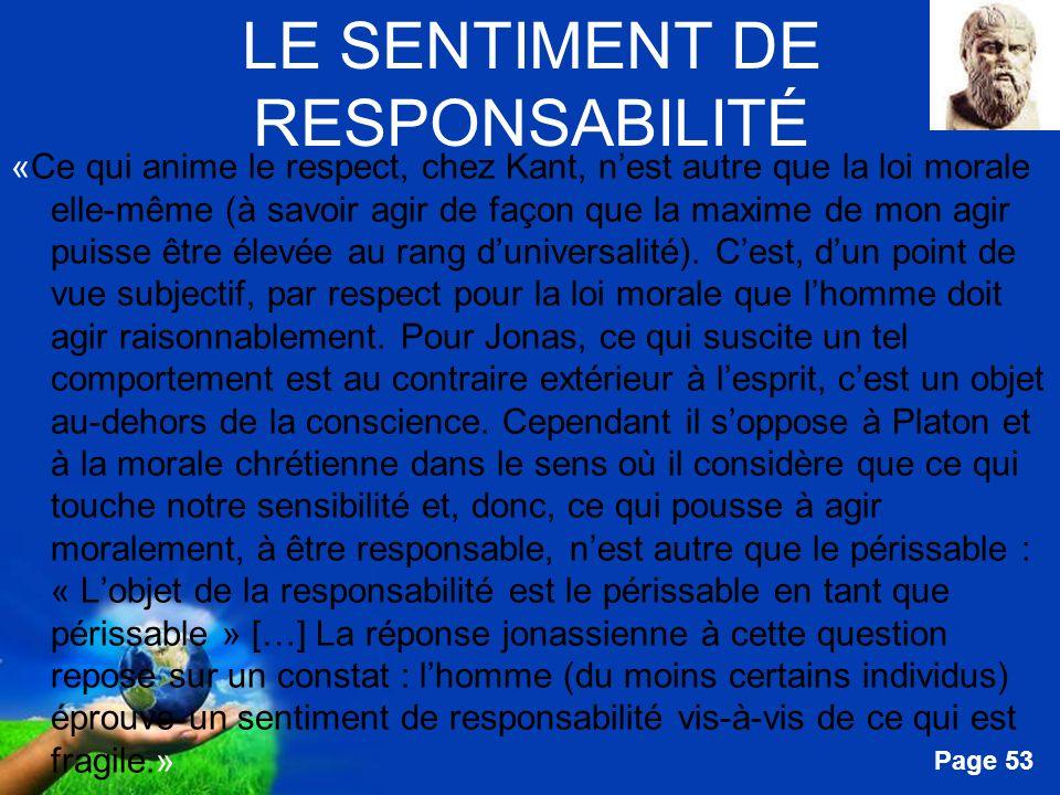 Free Powerpoint Templates Page 53 LE SENTIMENT DE RESPONSABILITÉ «Ce qui anime le respect, chez Kant, nest autre que la loi morale elle-même (à savoir