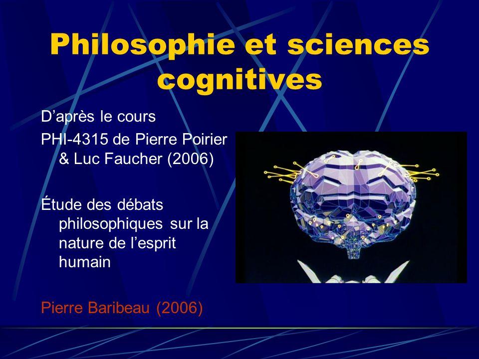 Philosophie et sciences cognitives Daprès le cours PHI-4315 de Pierre Poirier & Luc Faucher (2006) Étude des débats philosophiques sur la nature de le