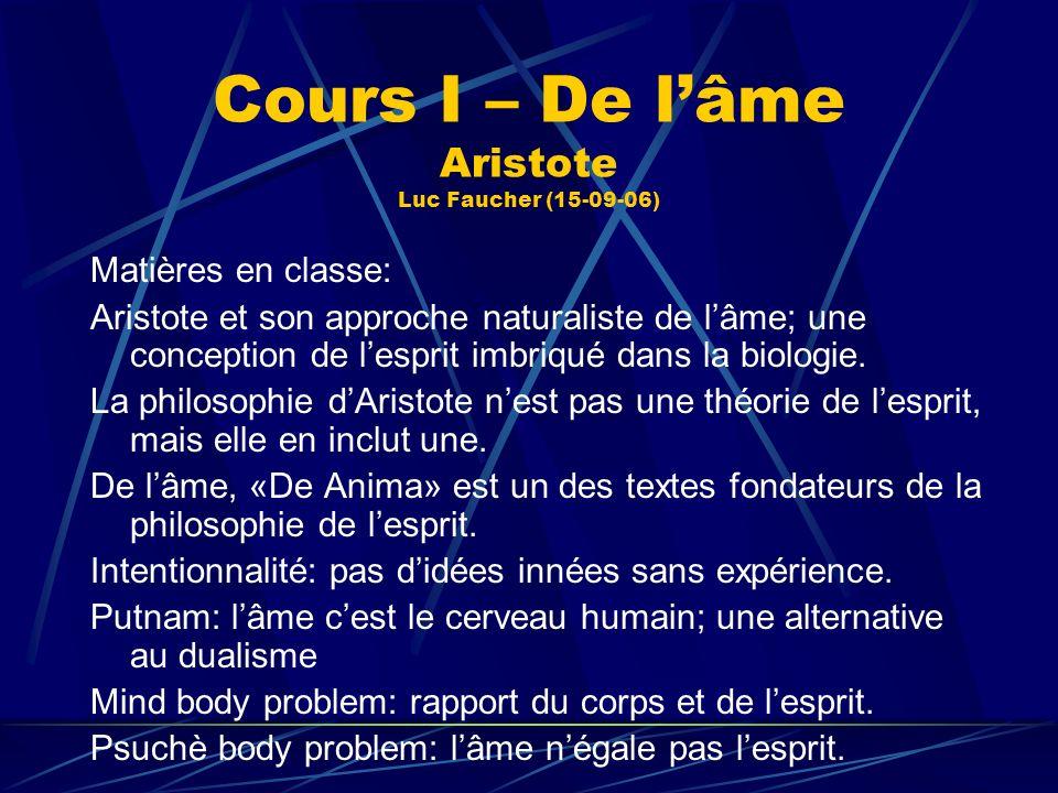 Cours I – De lâme Aristote Luc Faucher (15-09-06) Matières en classe: Aristote et son approche naturaliste de lâme; une conception de lesprit imbriqué