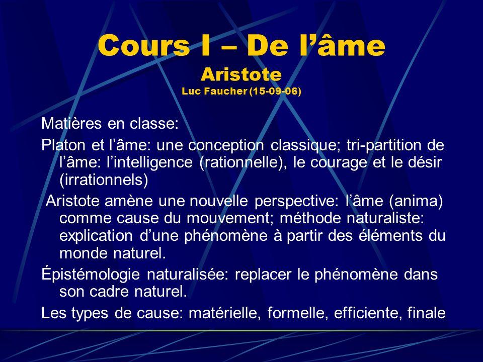 Cours I – De lâme Aristote Luc Faucher (15-09-06) Matières en classe: Platon et lâme: une conception classique; tri-partition de lâme: lintelligence (