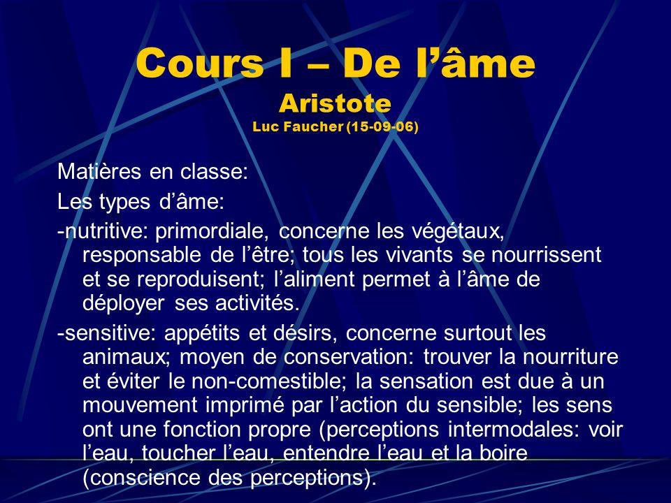 Cours I – De lâme Aristote Luc Faucher (15-09-06) Matières en classe: Les types dâme: -nutritive: primordiale, concerne les végétaux, responsable de l