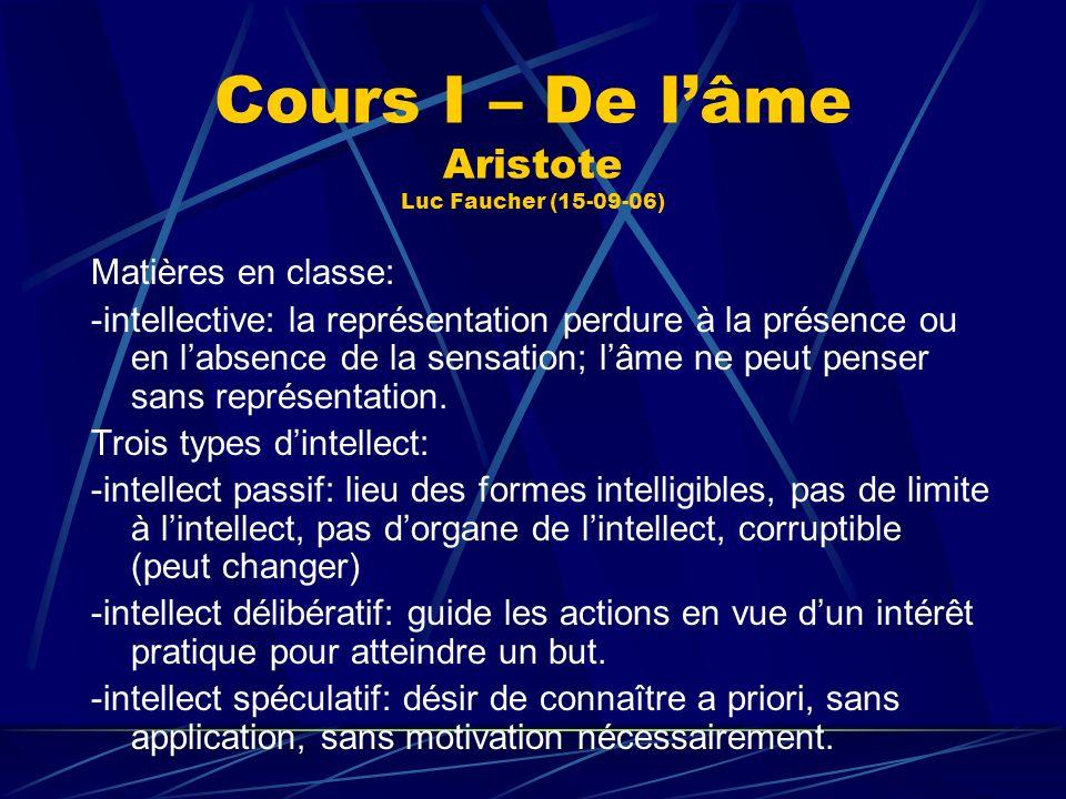Cours I – De lâme Aristote Luc Faucher (15-09-06) Matières en classe: -intellective: la représentation perdure à la présence ou en labsence de la sens