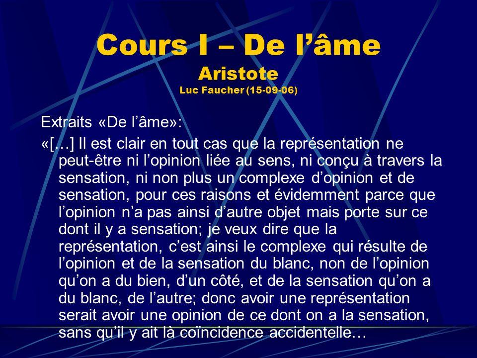 Cours I – De lâme Aristote Luc Faucher (15-09-06) Extraits «De lâme»: «[…] Il est clair en tout cas que la représentation ne peut-être ni lopinion lié