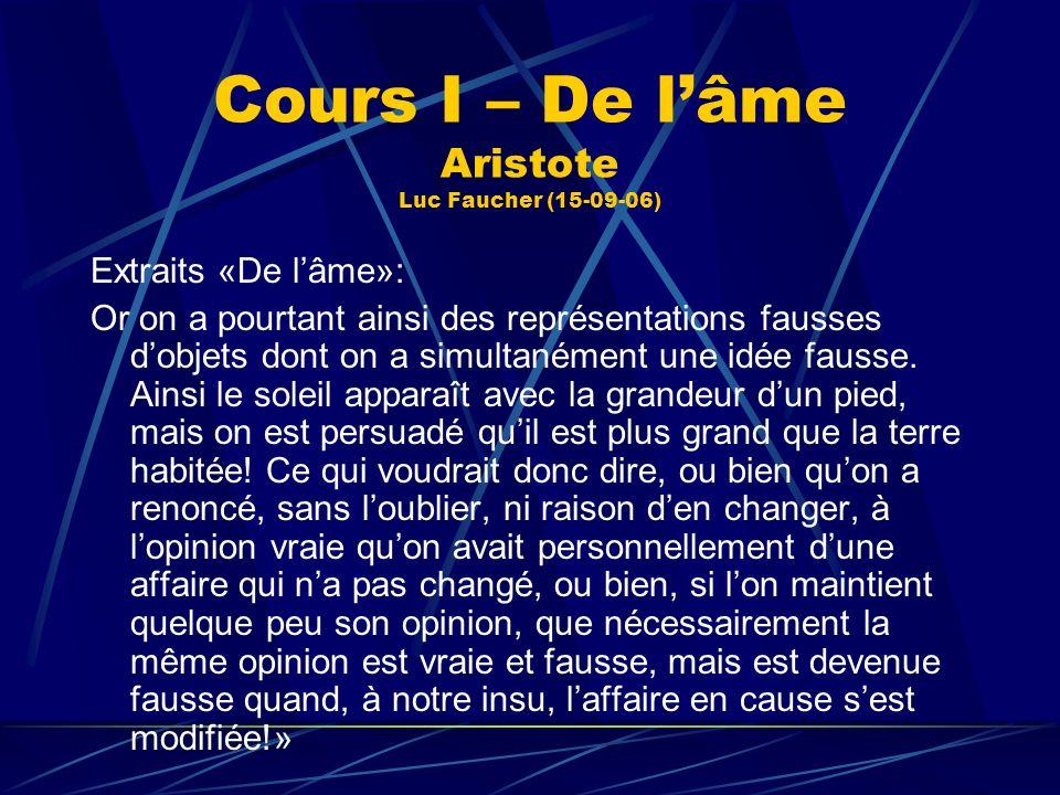 Cours I – De lâme Aristote Luc Faucher (15-09-06) Extraits «De lâme»: Or on a pourtant ainsi des représentations fausses dobjets dont on a simultanéme