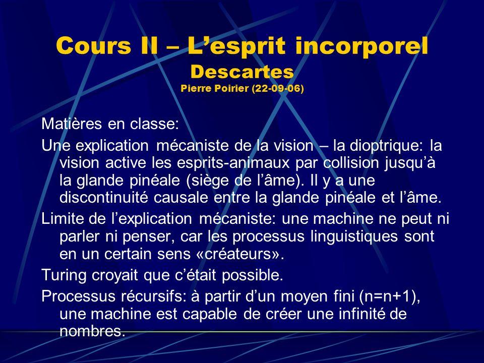 Cours II – Lesprit incorporel Descartes Pierre Poirier (22-09-06) Matières en classe: Une explication mécaniste de la vision – la dioptrique: la visio