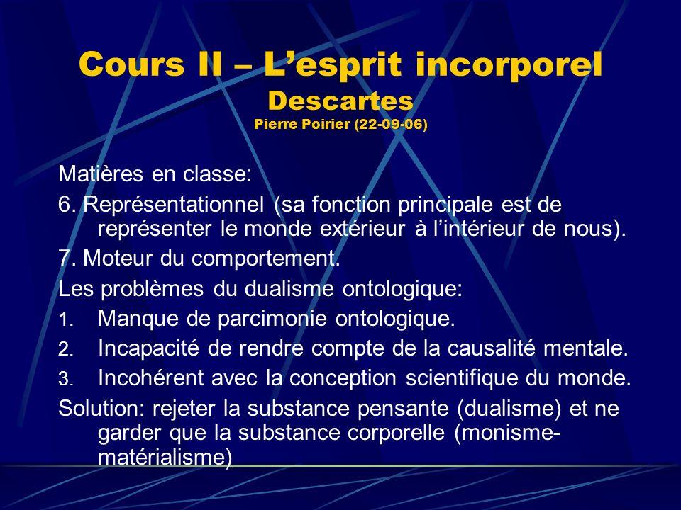 Cours II – Lesprit incorporel Descartes Pierre Poirier (22-09-06) Matières en classe: 6. Représentationnel (sa fonction principale est de représenter