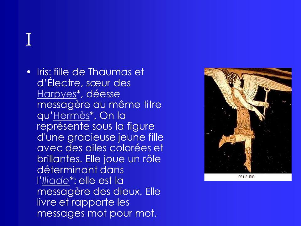I Iris: fille de Thaumas et dÉlectre, sœur des Harpyes*, déesse messagère au même titre quHermès*. On la représente sous la figure d'une gracieuse jeu