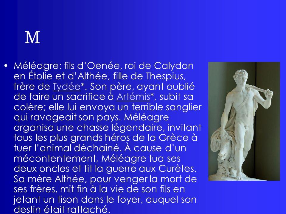 M Méléagre: fils dOenée, roi de Calydon en Étolie et dAlthée, fille de Thespius, frère de Tydée*. Son père, ayant oublié de faire un sacrifice à Artém