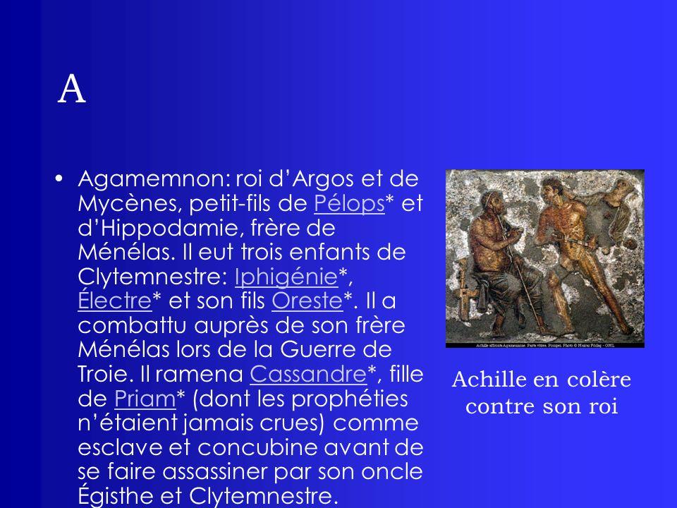A Agamemnon: roi dArgos et de Mycènes, petit-fils de Pélops* et dHippodamie, frère de Ménélas. Il eut trois enfants de Clytemnestre: Iphigénie*, Élect