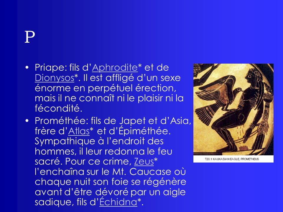 P Priape: fils dAphrodite* et de Dionysos*. Il est affligé dun sexe énorme en perpétuel érection, mais il ne connaît ni le plaisir ni la fécondité.Aph