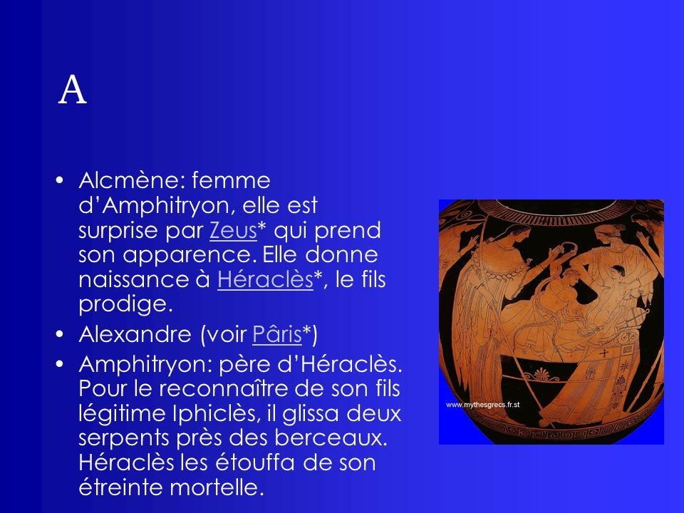 A Alcmène: femme dAmphitryon, elle est surprise par Zeus* qui prend son apparence. Elle donne naissance à Héraclès*, le fils prodige.ZeusHéraclès Alex