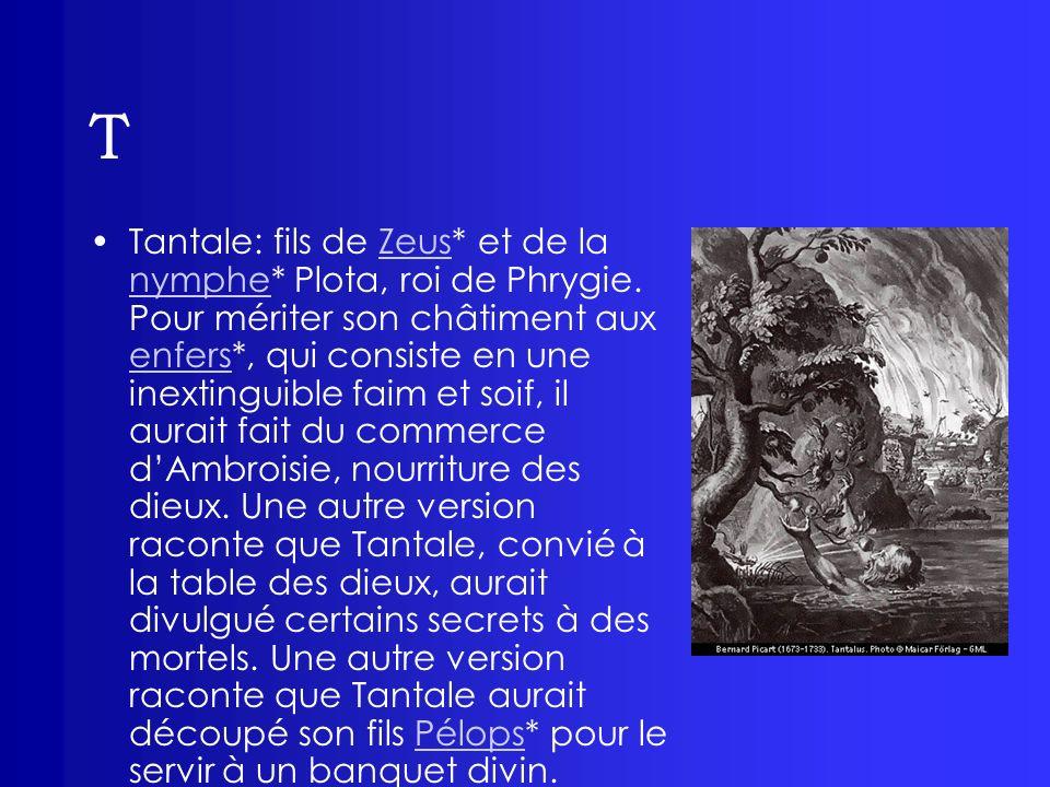 T Tantale: fils de Zeus* et de la nymphe* Plota, roi de Phrygie. Pour mériter son châtiment aux enfers*, qui consiste en une inextinguible faim et soi