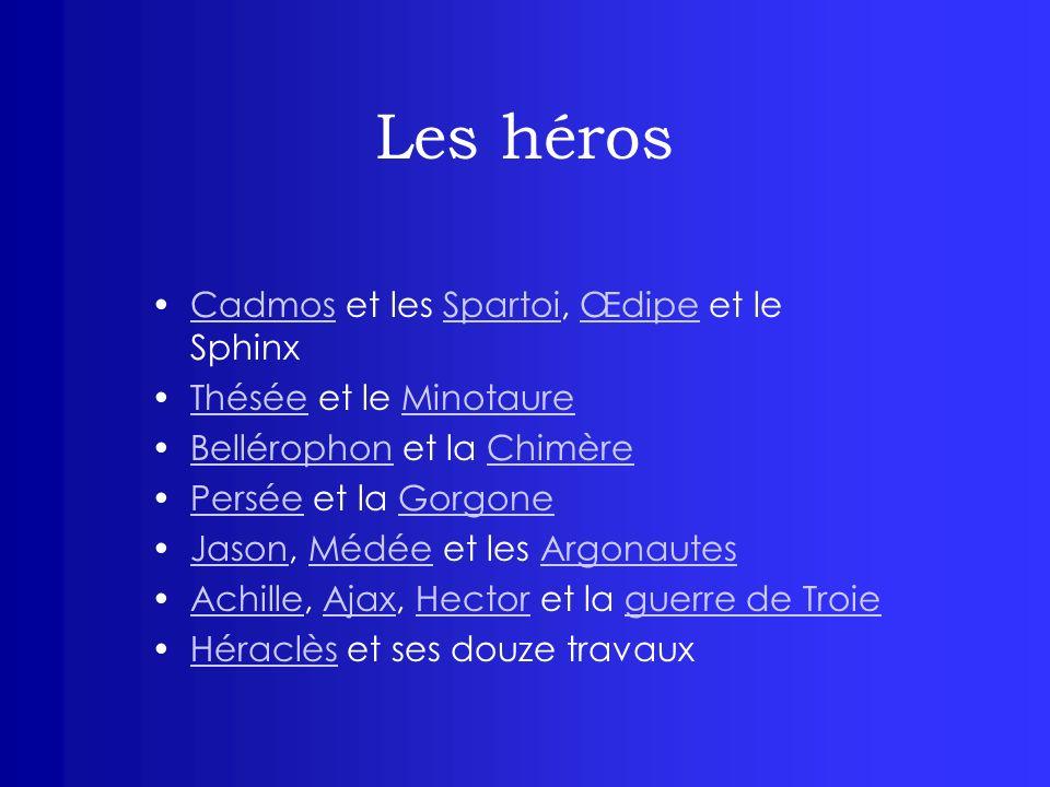 Les héros Cadmos et les Spartoi, Œdipe et le SphinxCadmosSpartoiŒdipe Thésée et le MinotaureThéséeMinotaure Bellérophon et la ChimèreBellérophonChimèr