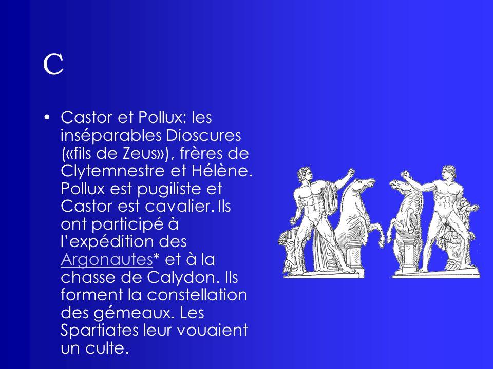 C Castor et Pollux: les inséparables Dioscures («fils de Zeus»), frères de Clytemnestre et Hélène. Pollux est pugiliste et Castor est cavalier. Ils on