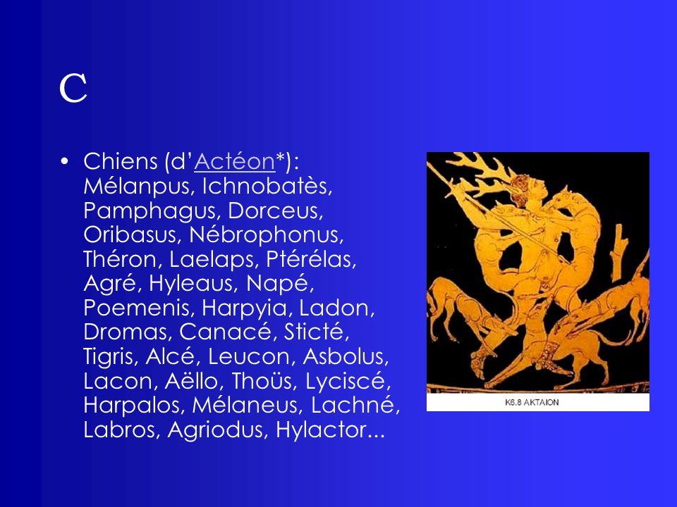 C Chiens (dActéon*): Mélanpus, Ichnobatès, Pamphagus, Dorceus, Oribasus, Nébrophonus, Théron, Laelaps, Ptérélas, Agré, Hyleaus, Napé, Poemenis, Harpyi
