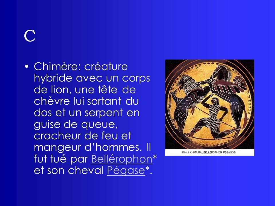 C Chimère: créature hybride avec un corps de lion, une tête de chèvre lui sortant du dos et un serpent en guise de queue, cracheur de feu et mangeur d