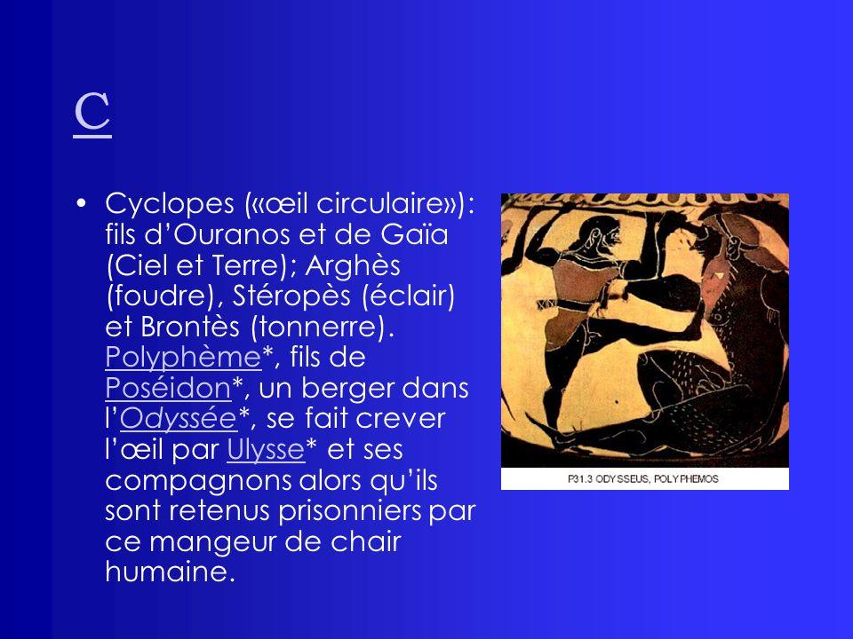 C Cyclopes («œil circulaire»): fils dOuranos et de Gaïa (Ciel et Terre); Arghès (foudre), Stéropès (éclair) et Brontès (tonnerre). Polyphème*, fils de
