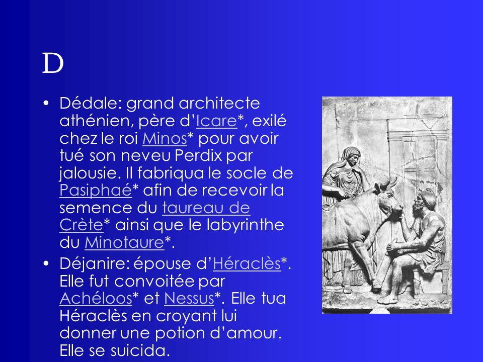 D Dédale: grand architecte athénien, père dIcare*, exilé chez le roi Minos* pour avoir tué son neveu Perdix par jalousie. Il fabriqua le socle de Pasi