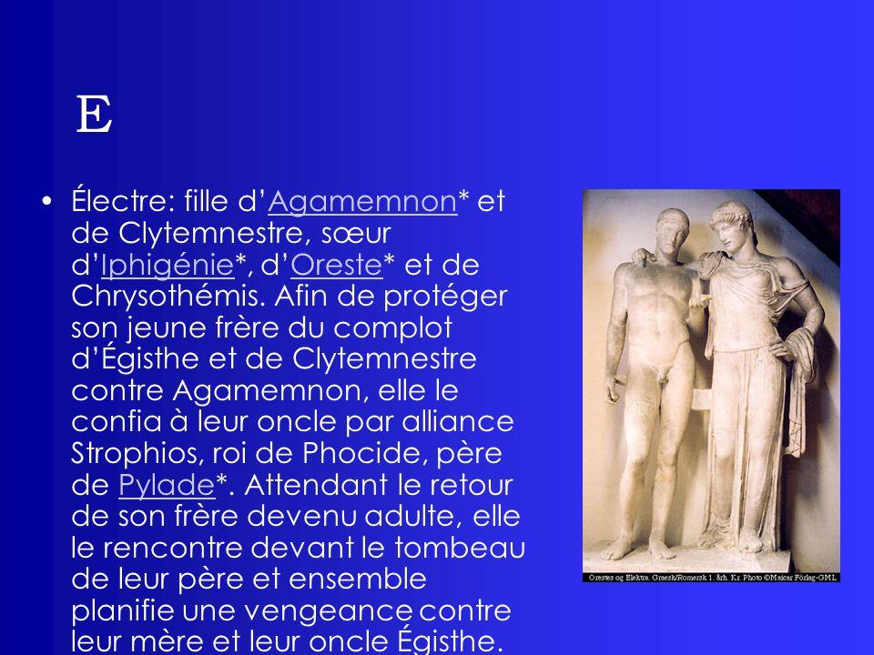 E Électre: fille dAgamemnon* et de Clytemnestre, sœur dIphigénie*, dOreste* et de Chrysothémis. Afin de protéger son jeune frère du complot dÉgisthe e