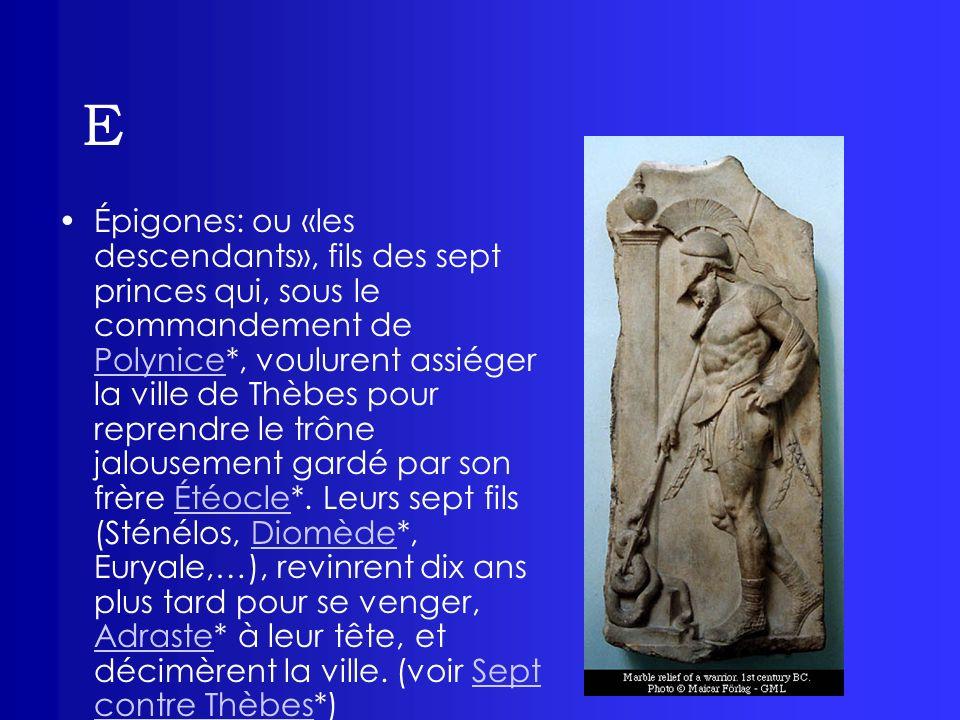 E Épigones: ou «les descendants», fils des sept princes qui, sous le commandement de Polynice*, voulurent assiéger la ville de Thèbes pour reprendre l