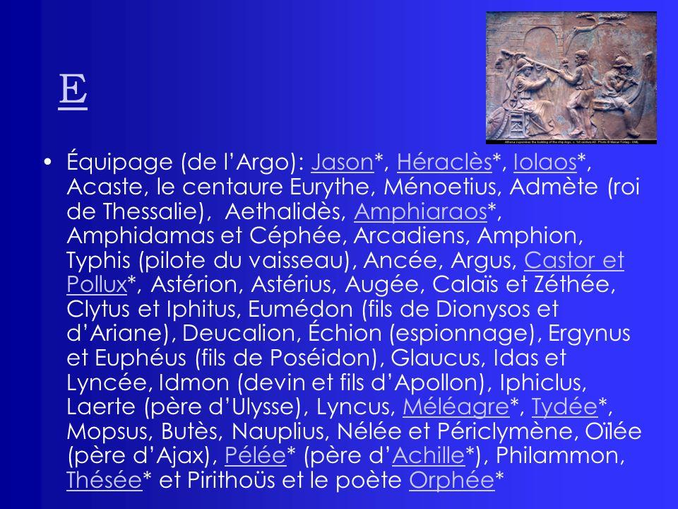 E Équipage (de lArgo): Jason*, Héraclès*, Iolaos*, Acaste, le centaure Eurythe, Ménoetius, Admète (roi de Thessalie), Aethalidès, Amphiaraos*, Amphida
