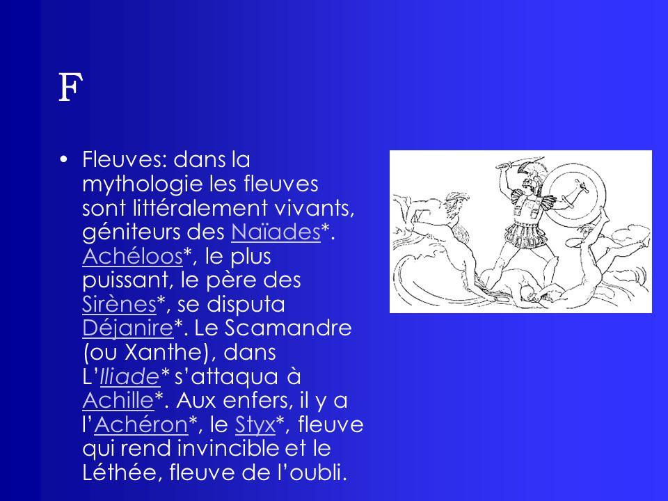 F Fleuves: dans la mythologie les fleuves sont littéralement vivants, géniteurs des Naïades*. Achéloos*, le plus puissant, le père des Sirènes*, se di