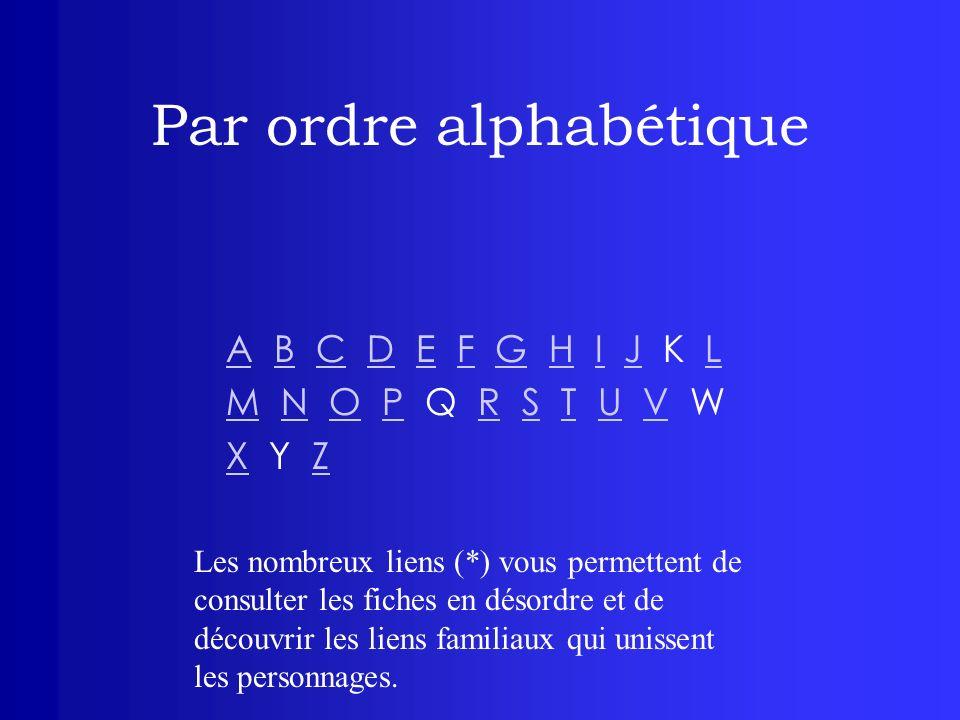 Par ordre alphabétique AA B C D E F G H I J K LBCDEFGHIJL MM N O P Q R S T U V WNOPRSTUV XX Y ZZ Les nombreux liens (*) vous permettent de consulter l
