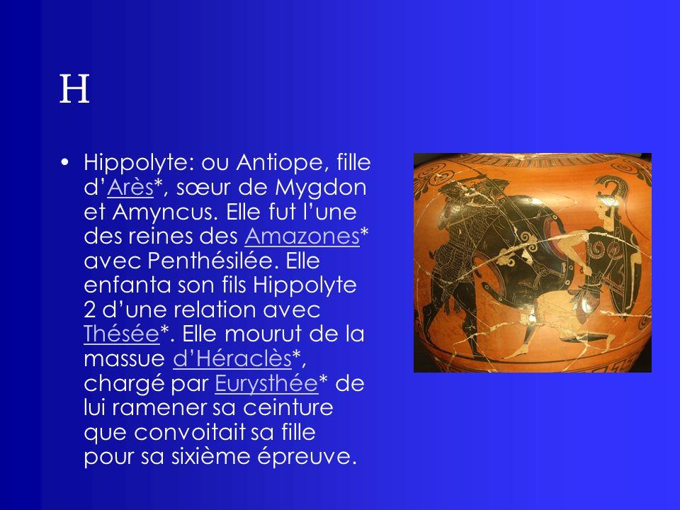 H Hippolyte: ou Antiope, fille dArès*, sœur de Mygdon et Amyncus. Elle fut lune des reines des Amazones* avec Penthésilée. Elle enfanta son fils Hippo