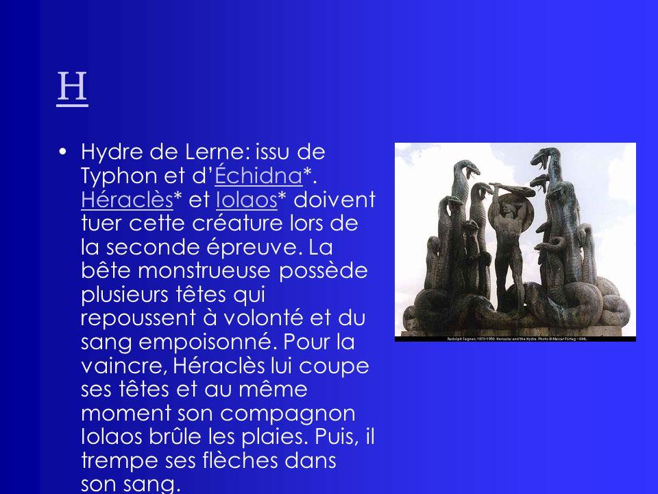H Hydre de Lerne: issu de Typhon et dÉchidna*. Héraclès* et Iolaos* doivent tuer cette créature lors de la seconde épreuve. La bête monstrueuse possèd