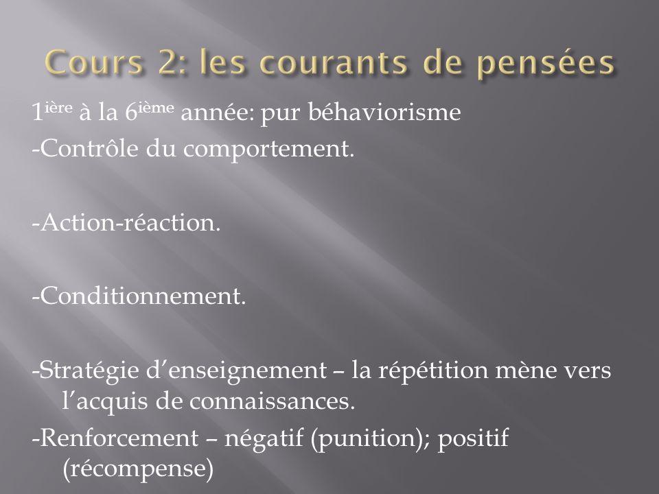 1 ière à la 6 ième année: pur béhaviorisme -Contrôle du comportement. -Action-réaction. -Conditionnement. -Stratégie denseignement – la répétition mèn