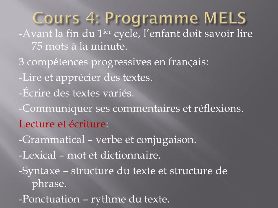 -Avant la fin du 1 ier cycle, lenfant doit savoir lire 75 mots à la minute. 3 compétences progressives en français: -Lire et apprécier des textes. -Éc