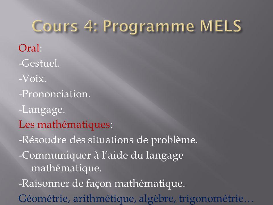 Oral: -Gestuel. -Voix. -Prononciation. -Langage. Les mathématiques: -Résoudre des situations de problème. -Communiquer à laide du langage mathématique