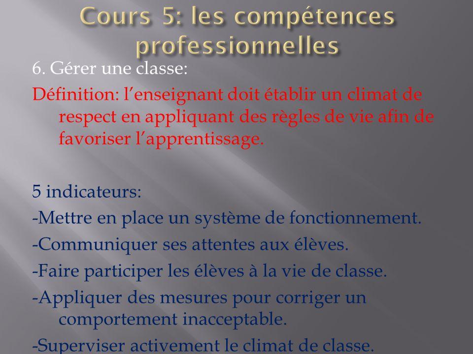 6. Gérer une classe: Définition: lenseignant doit établir un climat de respect en appliquant des règles de vie afin de favoriser lapprentissage. 5 ind