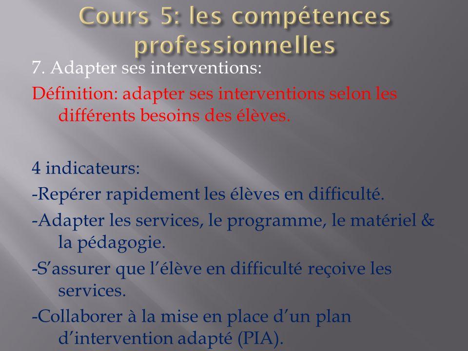 7. Adapter ses interventions: Définition: adapter ses interventions selon les différents besoins des élèves. 4 indicateurs: -Repérer rapidement les él
